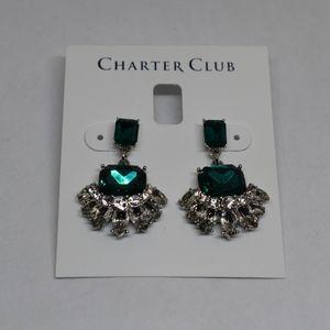 Charter Club Emerald & Clear Crystal Drop Earrings